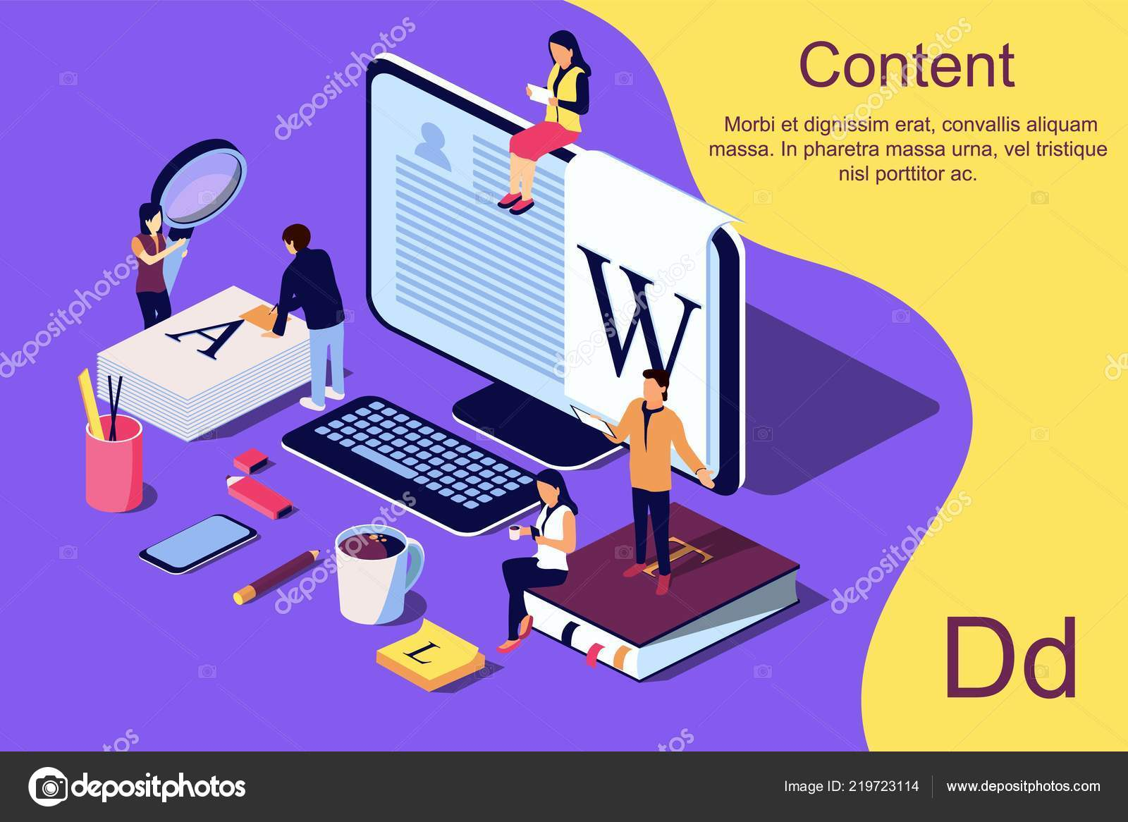 Isometric Concept Creative Writing Blogging Education