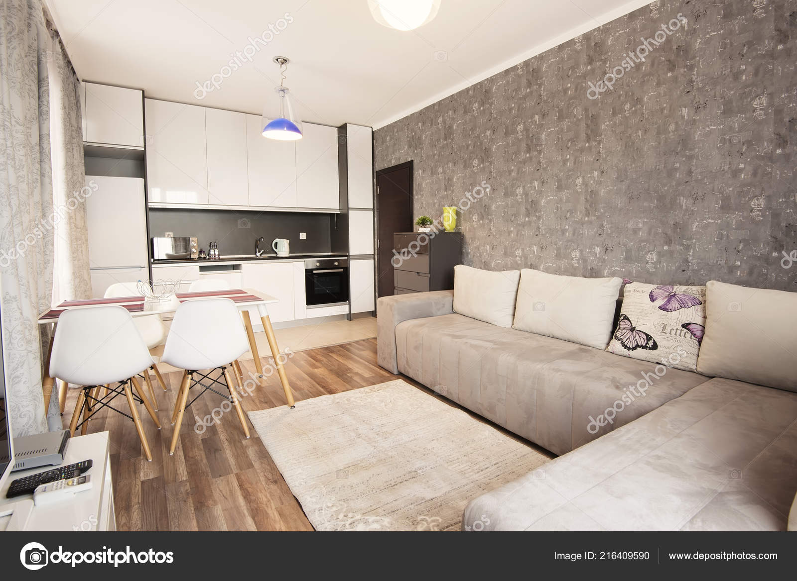 Modern Bright Cozy Living Room Interior Design Sofa Dining Table Stock Photo C Snj Abv Bg 216409590