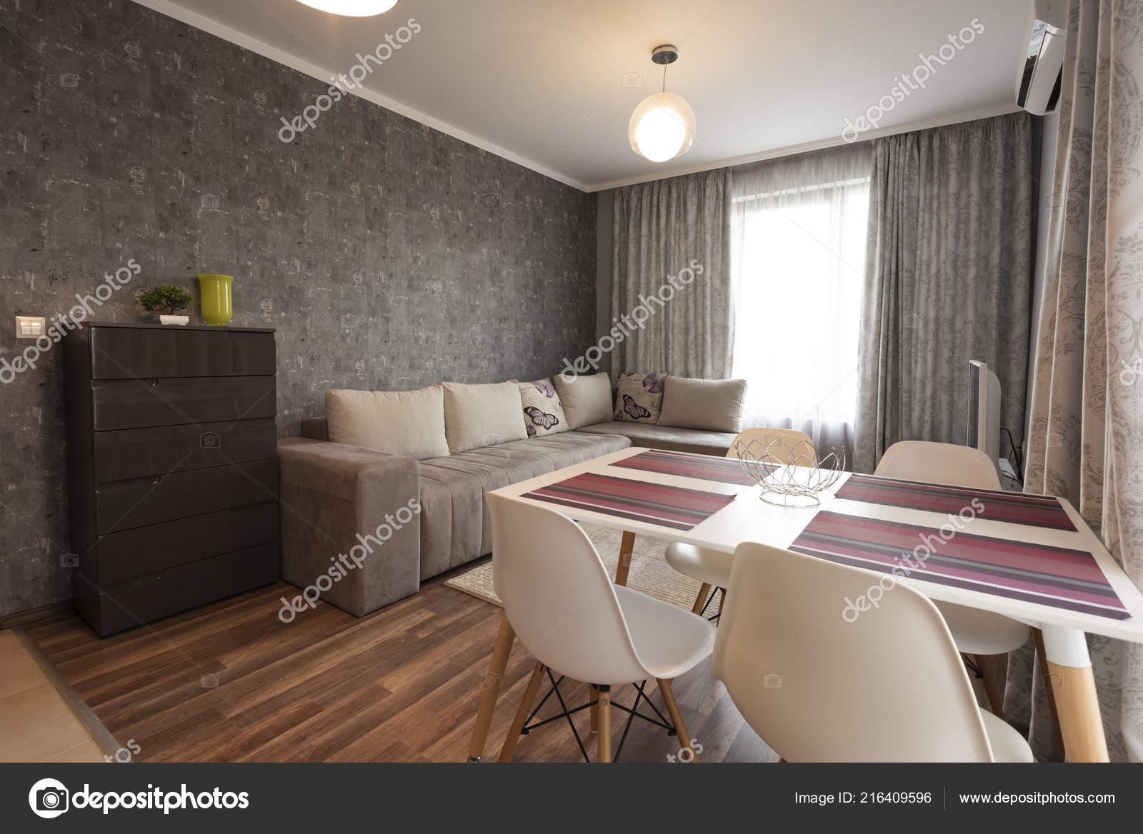 . Modern Bright Cozy Living Room Interior Design Sofa Dining Table