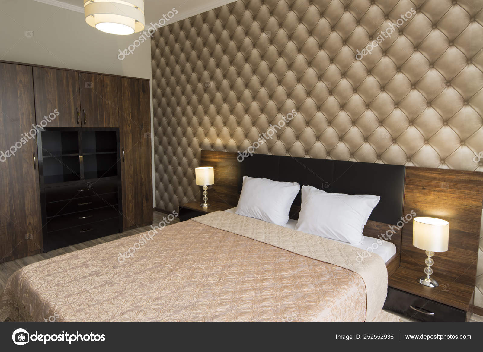 Classy Bedroom Interior Design Large Bed Room With Brown Color Tone Stock Photo C Snj Abv Bg 252552936