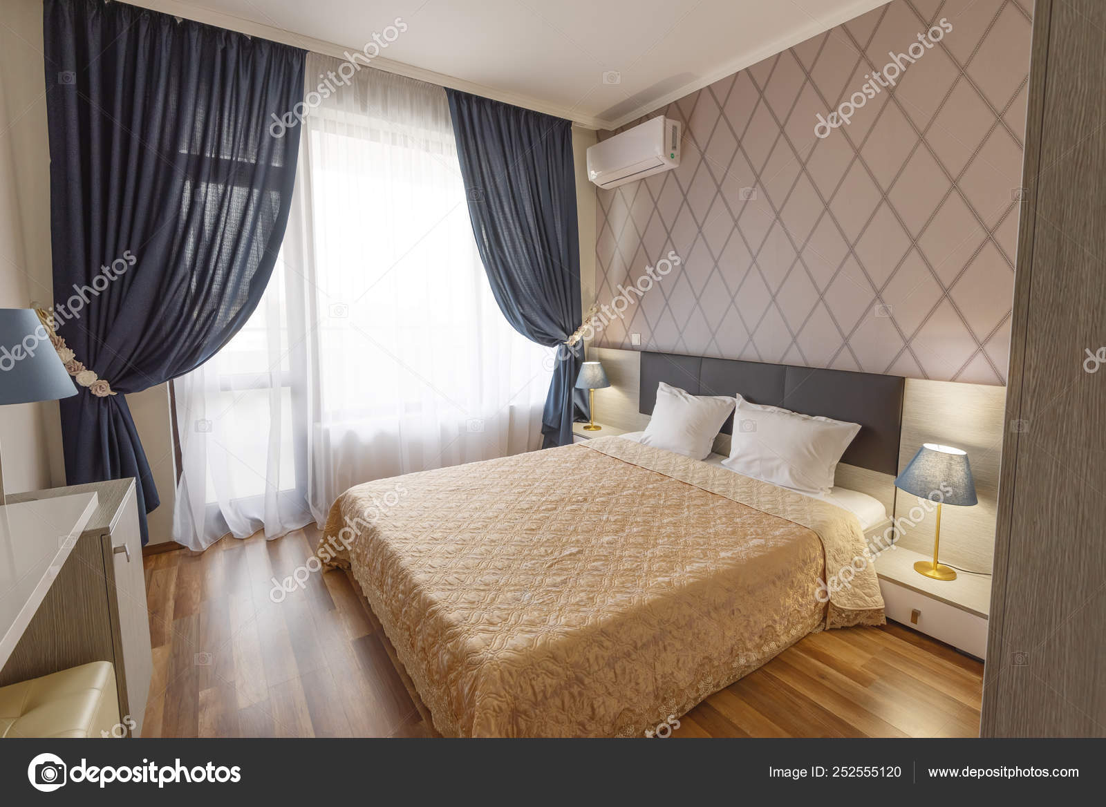 Interior Of Modern Bedroom With Cozy Double Bed Windows With Long Curtains Drapery And Sheers Interior Photography Stock Photo Image By C Snj Abv Bg 252555120