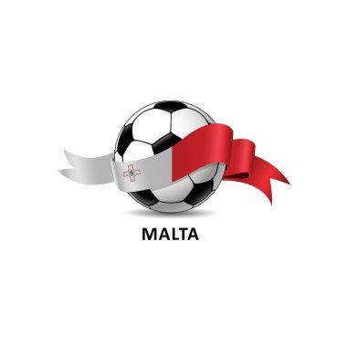 Football with malta national flag colorful trail. Vector illustration design for soccer football championship, tournaments, games. Element for invitations, flyers, posters, cards, webdesign