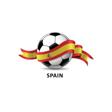 Football with Spain national flag colorful trail. Vector illustration design for soccer football championship, tournaments, games. Element for invitations, flyers, posters, cards, webdesign