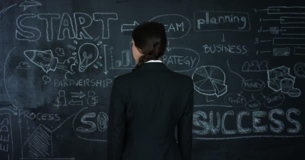 Krásný obchodní dívka, marketing učitel, kreslí graf úspěšnosti na černé desce, na černém pozadí. Koncepce: kariérní růst, růst chart, úspěšná dívka, marketing, myšlenky, finance.