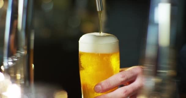 zpomalené video, oříznuté obraz barman lejt pivo ve skle na baru formě výčepní zařízení