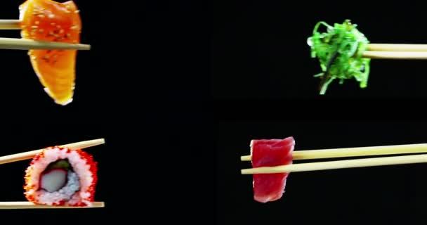Sushi-Qualität hoch dreht sich auf schwarzem Hintergrund und zeigt seine ganze Güte, diätetische und gesunde Lebensmittel, herzhaften Geschmack, das Sushi ist gut mit Lachs oder Thunfisch, ist ein typisch japanisches Essen