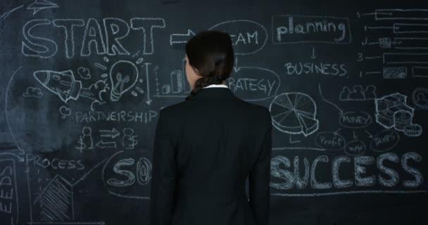 Krásný obchodní dívka, marketing učitel, kreslí graf úspěšnosti na černé desce, na černém pozadí. Koncepce: kariérní růst, růst chart, úspěšná dívka, marketing, myšlenky, finance