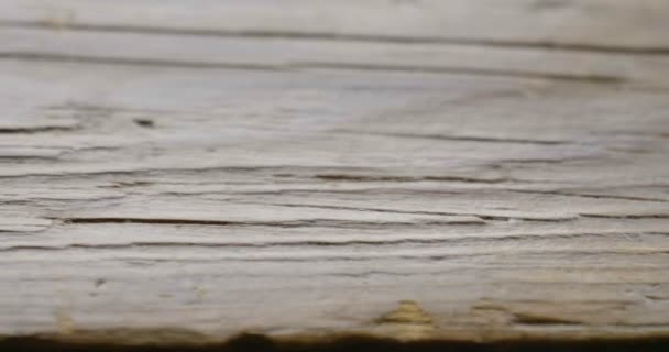 close up video of old brown wooden table surface