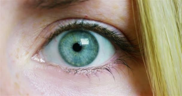 Makroaufnahme einer blonden Frau mit grünem Auge, Teilaufnahme