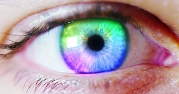 perfect mix color eye macro in a sterile environment and perfect vision, concept, the vision of the future and healthy life concept. view precise and straight to the target.