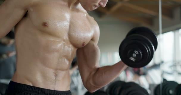 ein hemdloser Typ im Fitnessstudio, trainiert seinen Körper, um fit zu bleiben und hat definierte Muskeln. Der Sportler stemmt schwere Gewichte und ist erschöpft. Konzept aus: Sport, Fitness, Muskeln