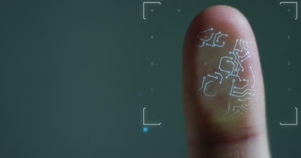 Futuristische digitale Verarbeitung biometrischer Fingerabdruckscanner. Konzept der Überwachung und Sicherheitsüberprüfung digitaler Programme und biometrischer Fingerabdrücke. Cyber-futuristische Anwendungen.