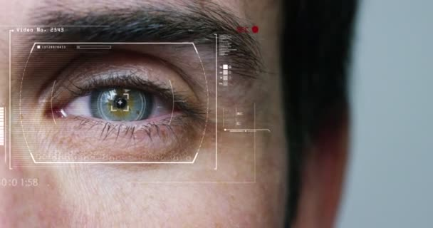 Human Eye Scan Technology Interface Animation Blue human eye in extreme macro . merger between man and machine . futuristic digital interface . concept and futuristic vision of augmented reality