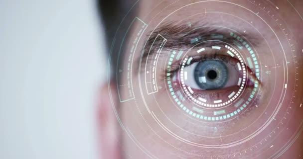 makró szem 6k felbontás futurisztikus grafikus végrehajtása. emberi lény, futurisztikus jövőkép, látás és ellenőrzési és személyek védelme, ellenőrzése és a hozzáférések biztonsági. felügyeleti rendszer