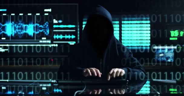Hacker tries to enter the system using codes and numbers to find out the security password.The hacker enters the software to steal login information.Concept: immersive technology,augmented reality