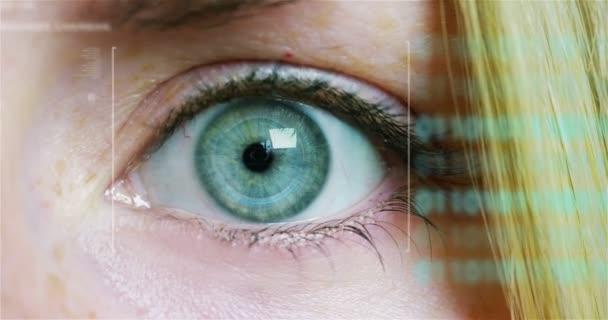 makro oko 6k rozlišení futuristické grafické provedení. lidská bytost futuristickou vizi, vizi a řízení a ochrana osob, kontroly a bezpečnosti v přístupy. dohledový systém