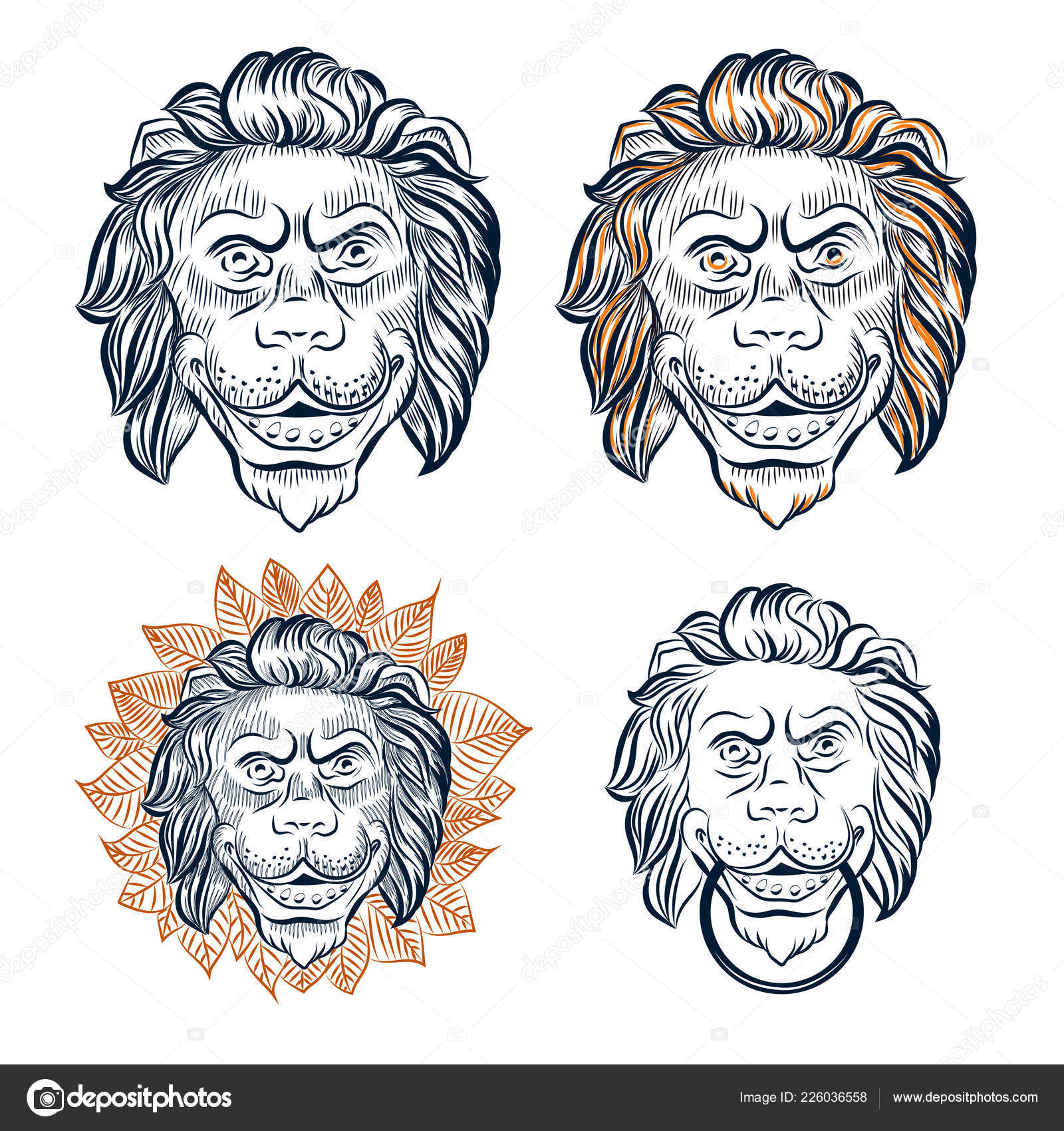 Lion Head Decorative Set Door Knocker Vector Lion Head Hand