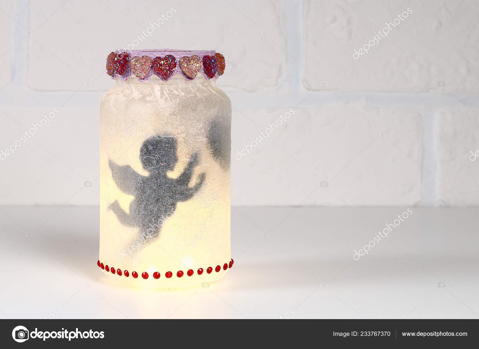 Diy Fairy Jar White Brick Wall Background Gift Ideas Decor Stock Photo C Detry Yandex Ru 233767370