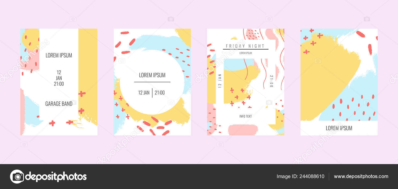 Set Of Creative Banners With Handmade Abstract Textural