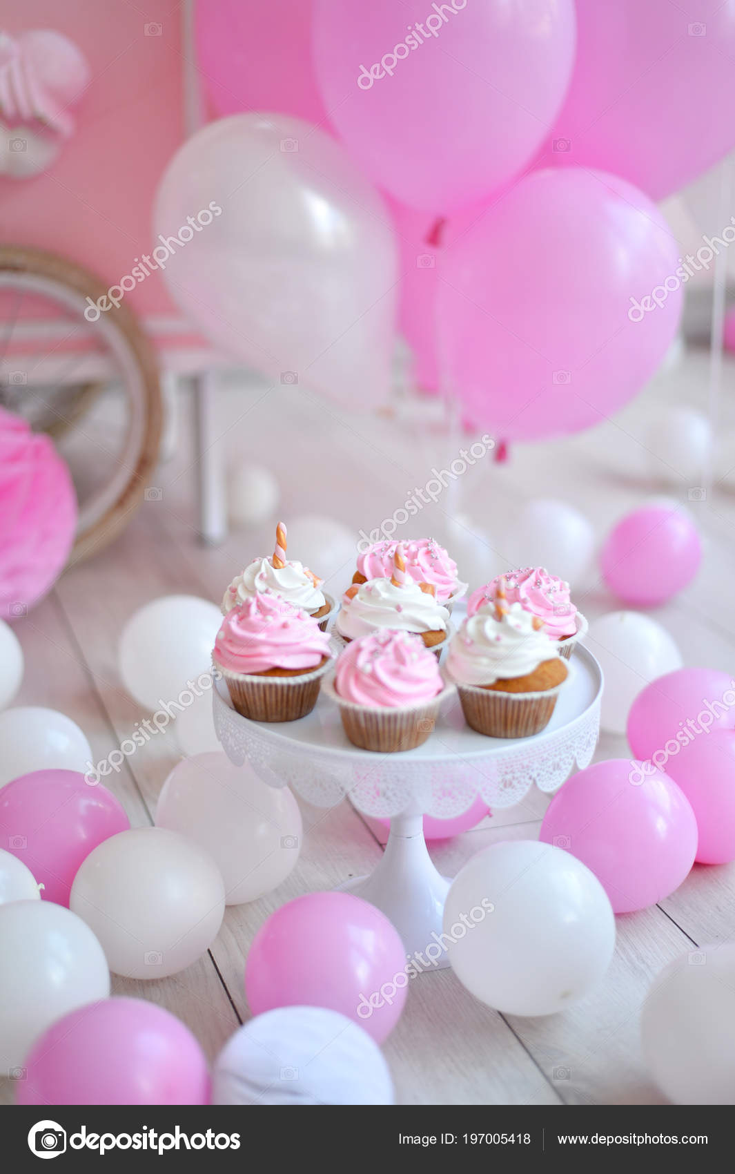 Decorations For Birthday Party A Lot Of Cakes Balloons Red And White Colors One Year Pink