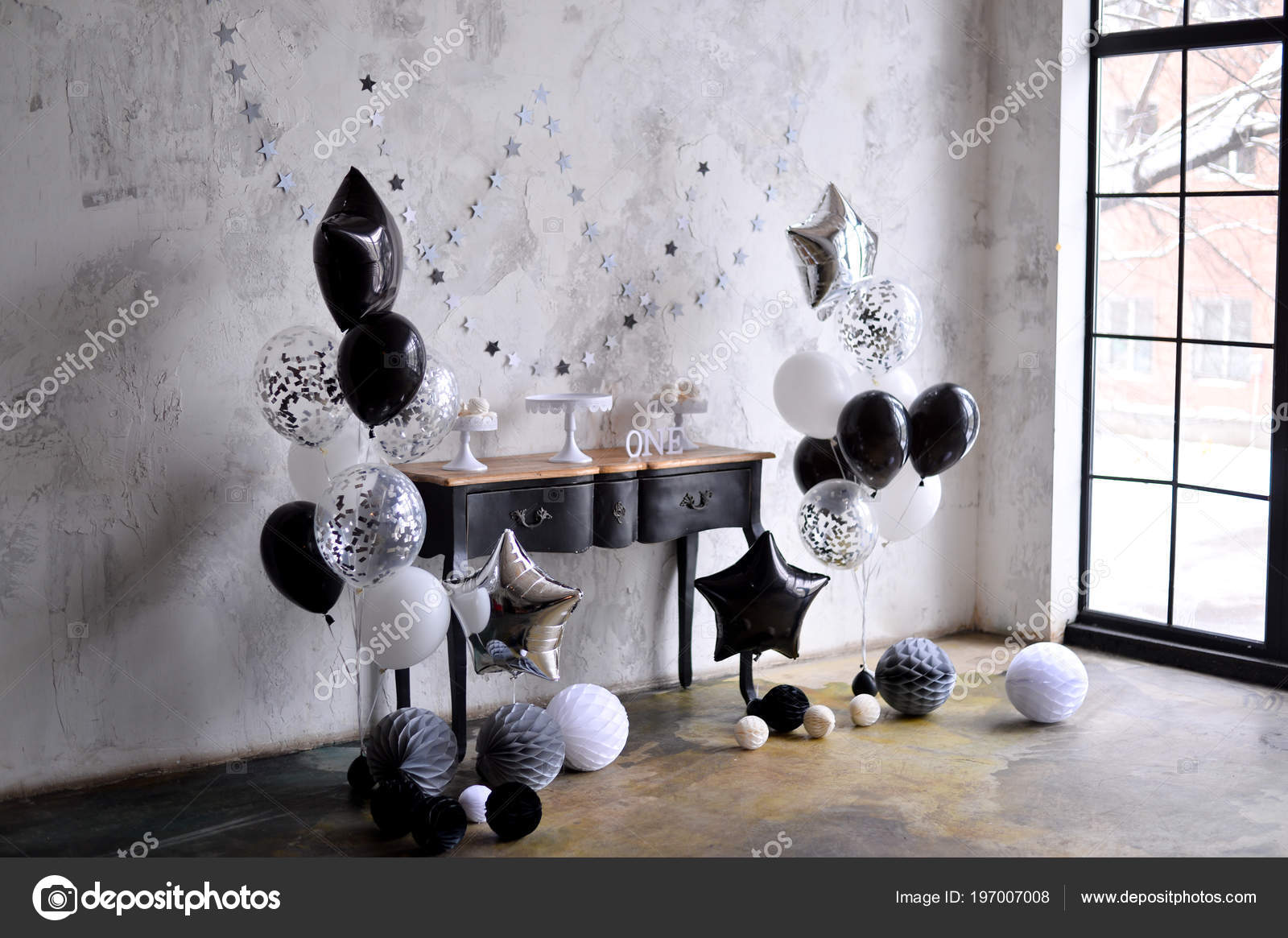 One Year Birthday Decorations Ides Black And White A Lot Of Balloons Colors Cake For Holiday Party