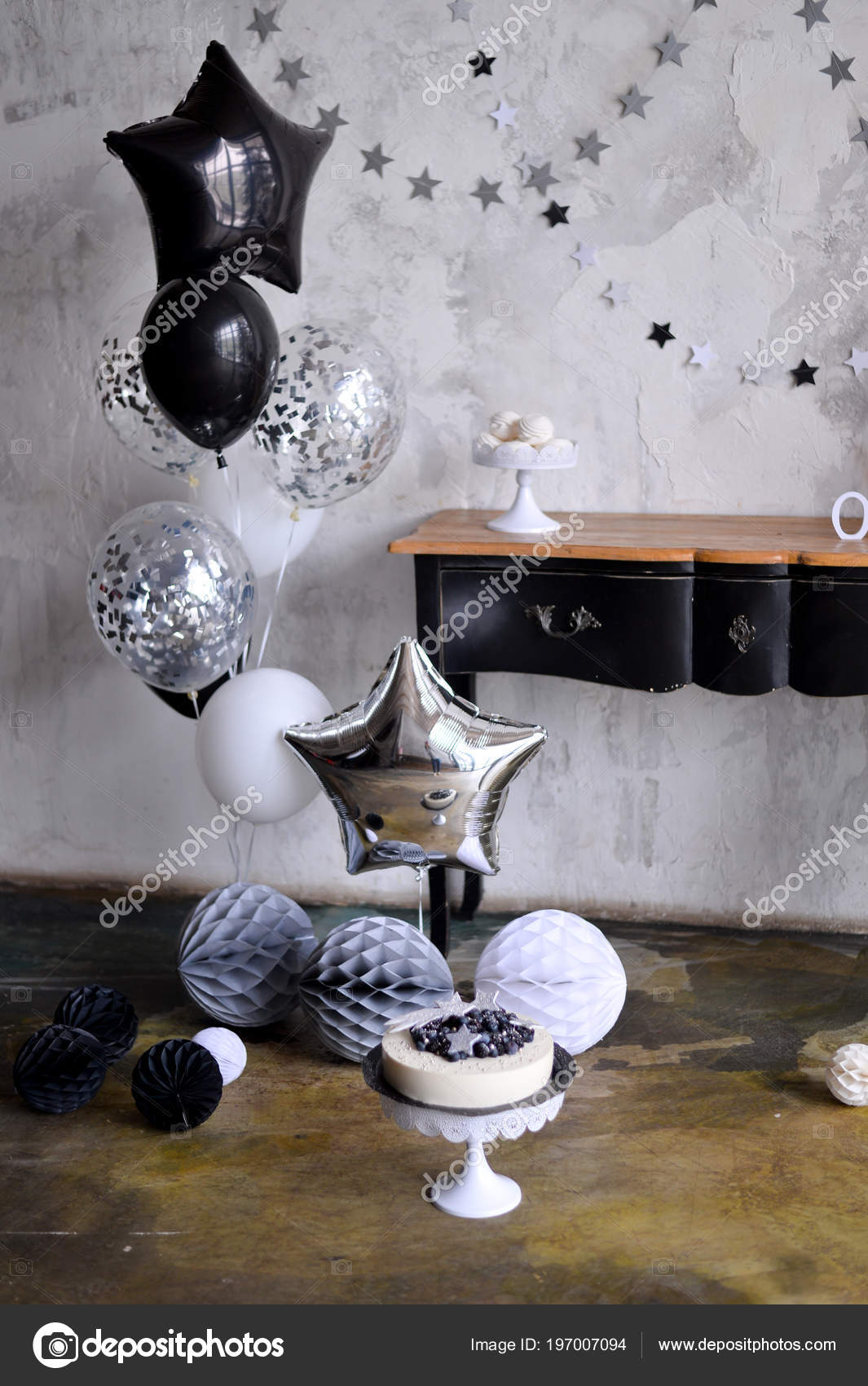 One Year Birthday Decorations Ides Black And White A Lot Of Balloons Colors Cake For Holiday Party Foto Von Annikel