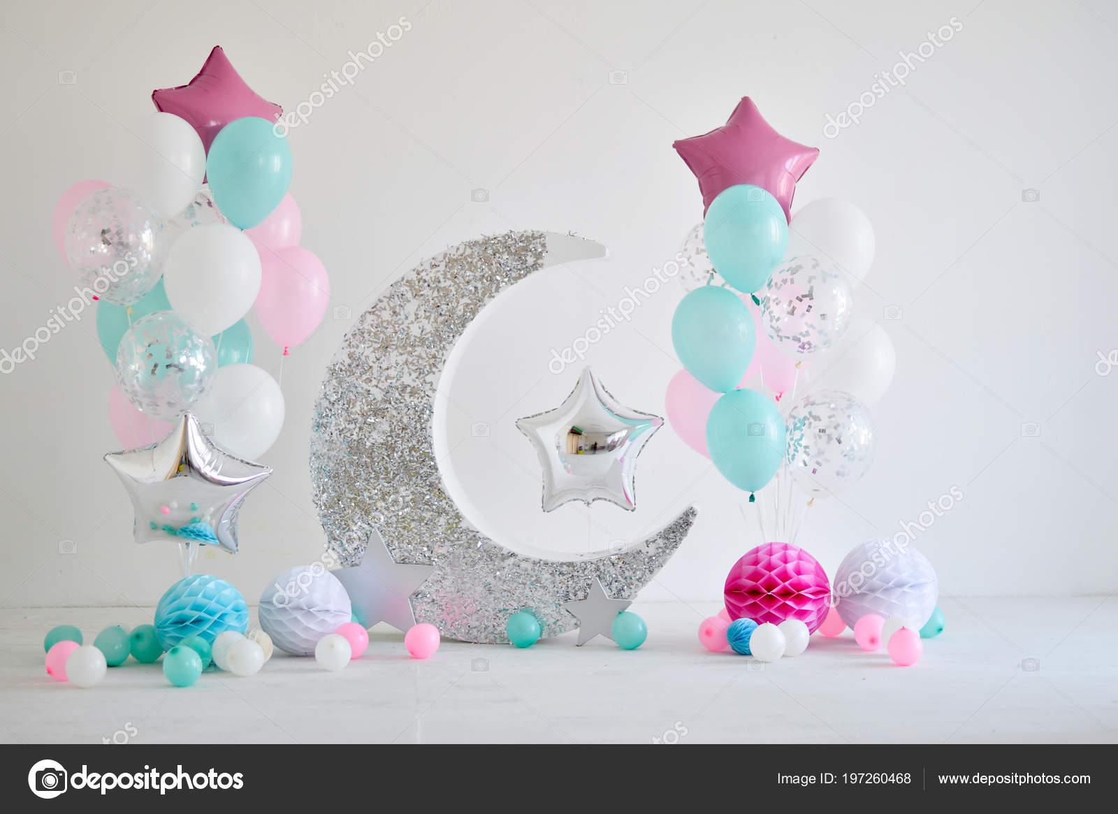 Piękne Dekoracje Przyjęcie Urodzinowe Wiele Gwiazd Balony Dużo