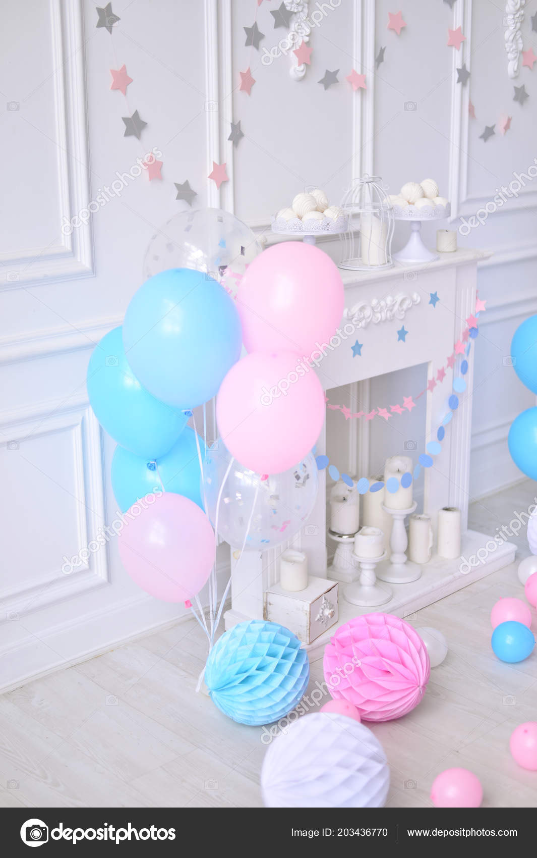 Birthday Decorations Ideas Holiday Party Lot Balloons Blue Stock Photo