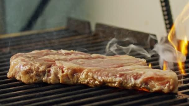 Zpomalený pohyb velké hovězí steak ze svíčkové na grilu na gril na dřevěné uhlí