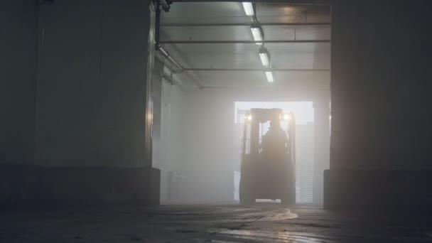 A rakodólapok emelőtargonca sötéthűtéses raktárban