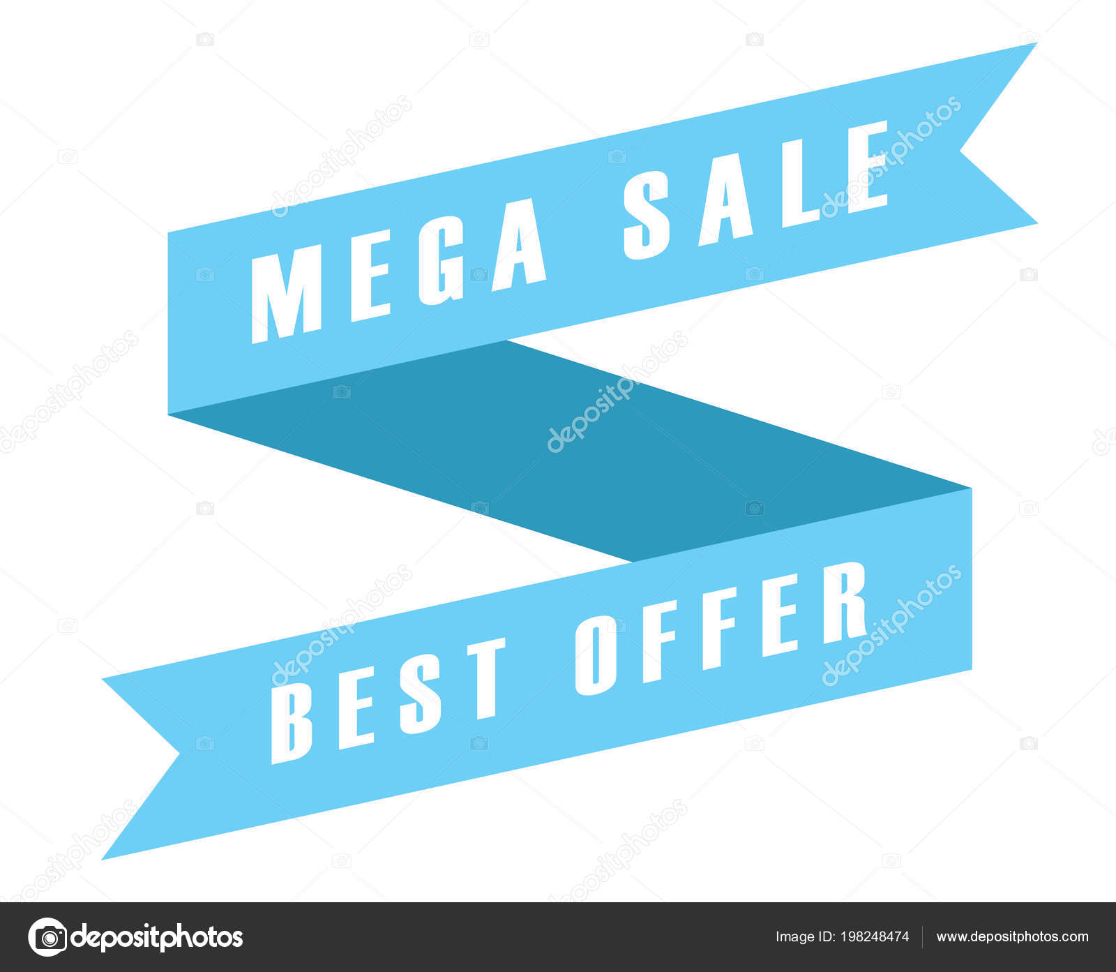 mega sale best offer blue tag ribbon banner icon white stock photo