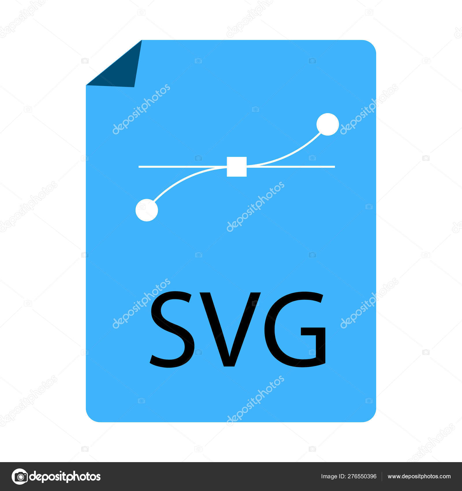 Blue SVG File Document icon on white background  flat style
