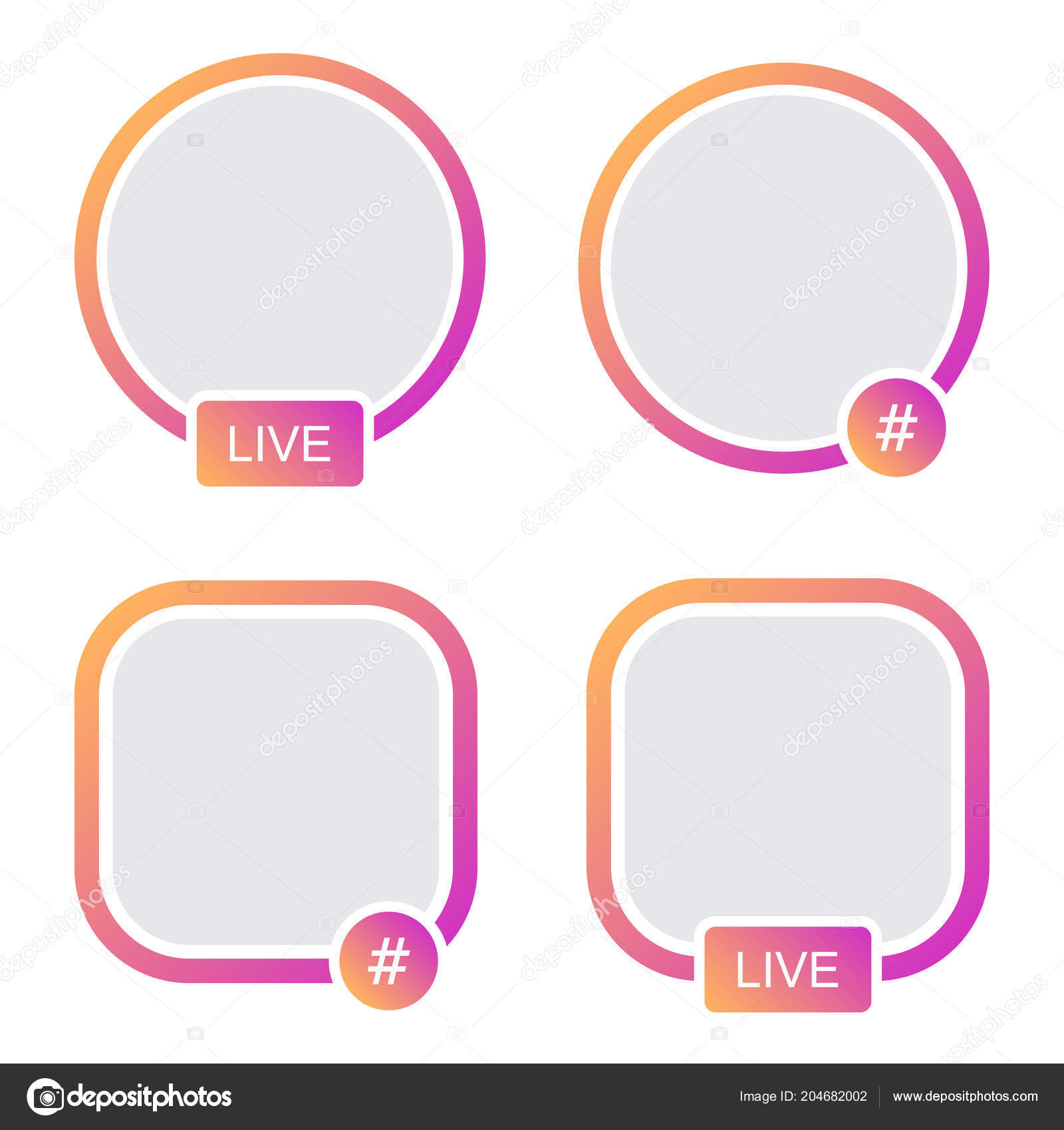 Set Icons Avatar Frame Hashtag Live Stories Video Streaming — Stock ...