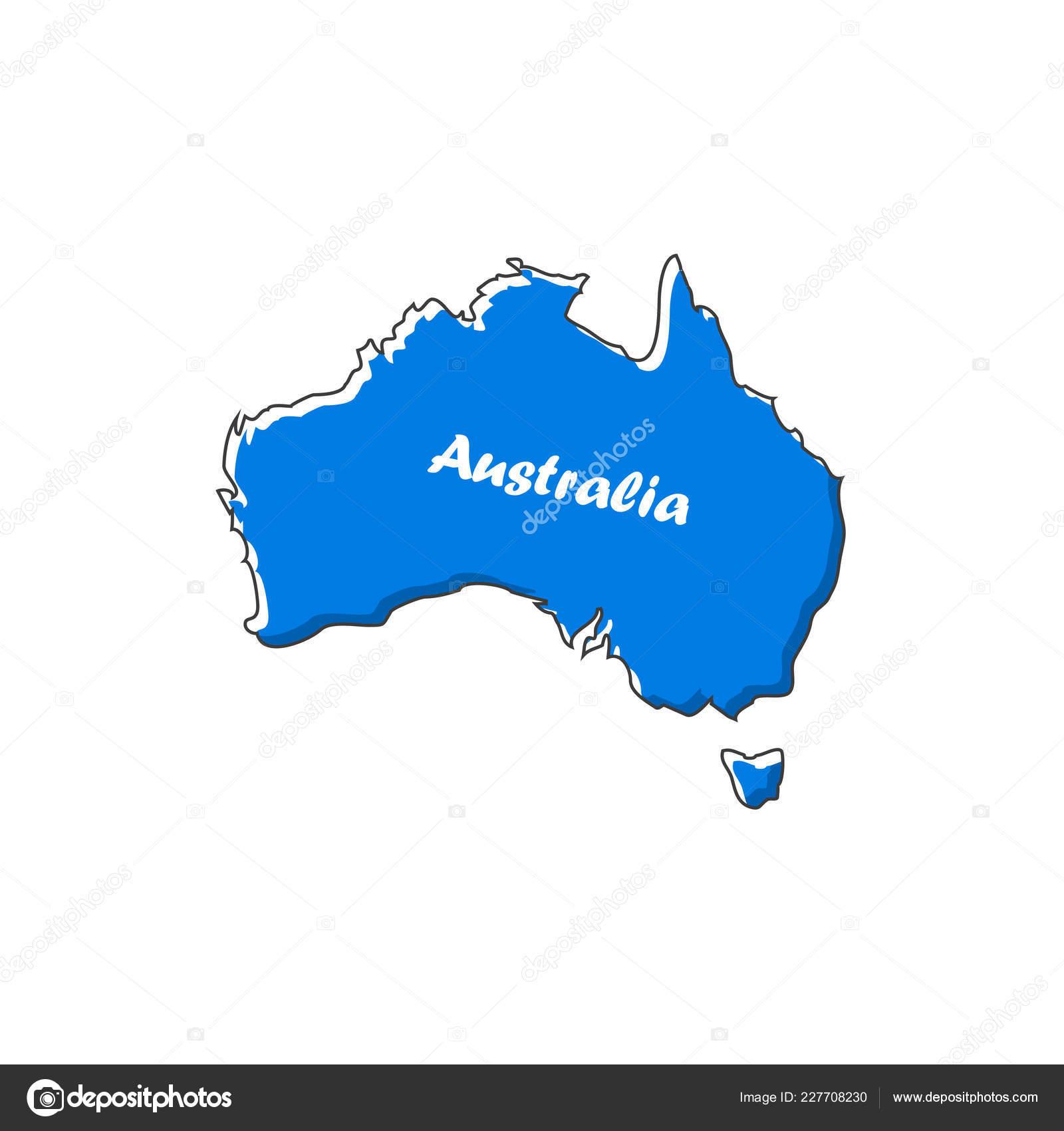 Australia Map Icon.Australia Map Icon Flat Design Vector Illustration Stock Vector