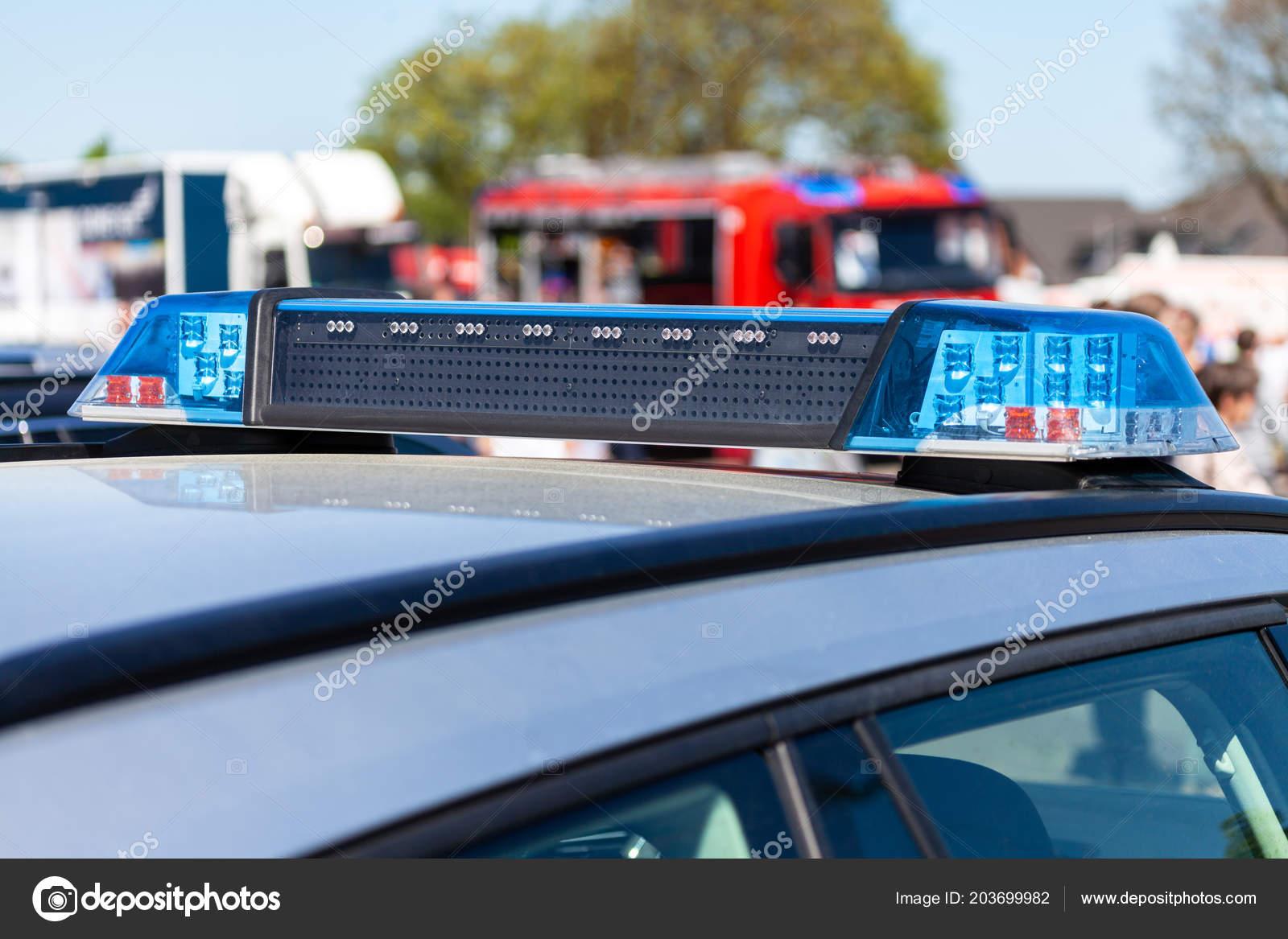 Blue Light Bar German Police Car Stock Photo