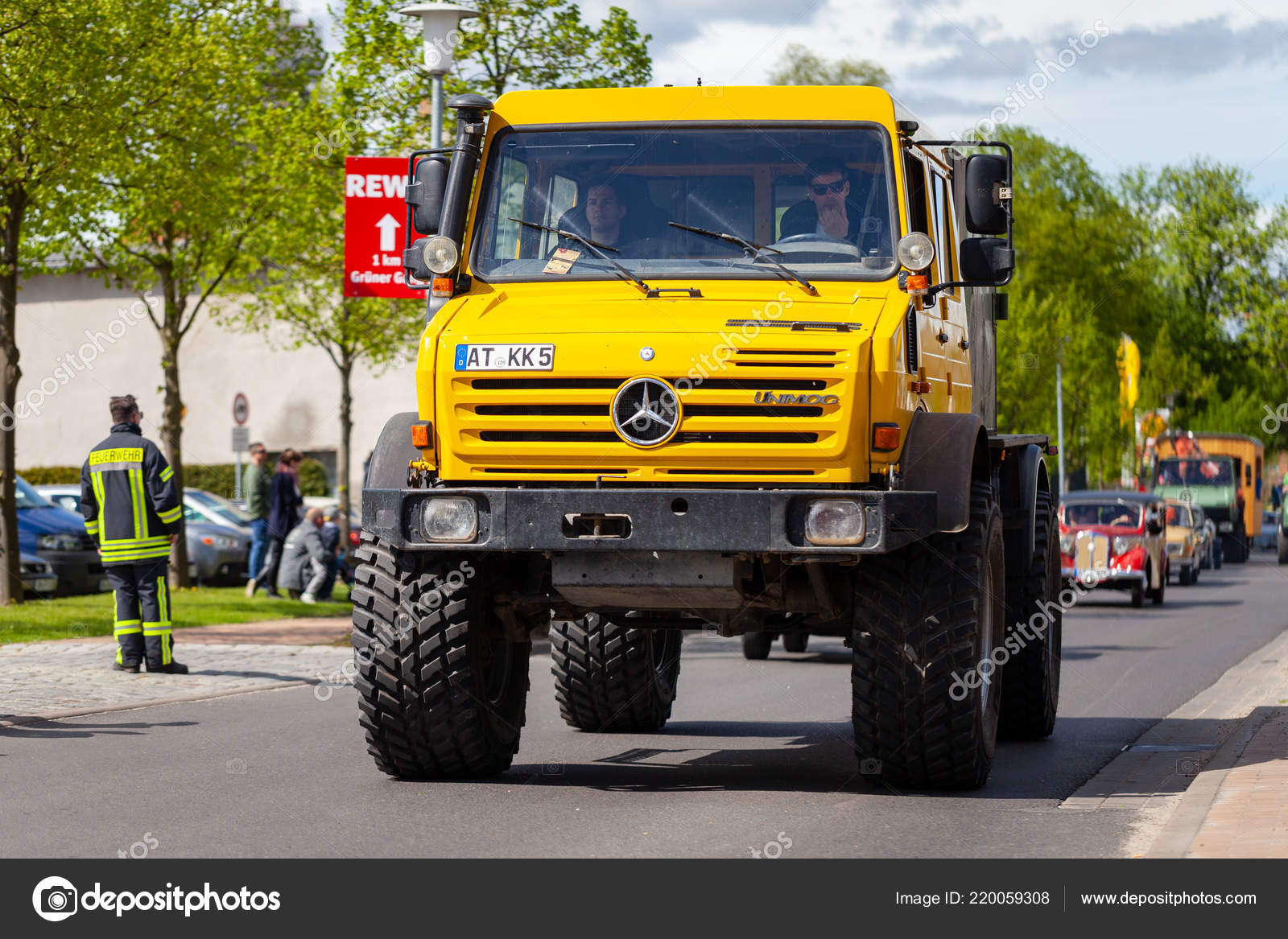 Altentreptow Germany May 2018 Mercedes Benz Unimog Drives Street