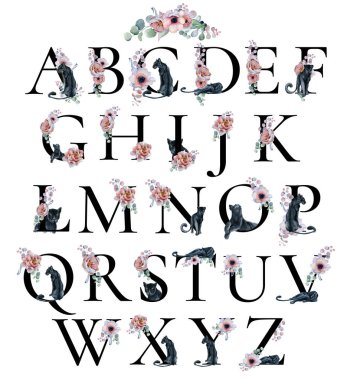 Watercolor alphabet with peonies anemone flowers and black panthers. Romantic floral font. Monogram design