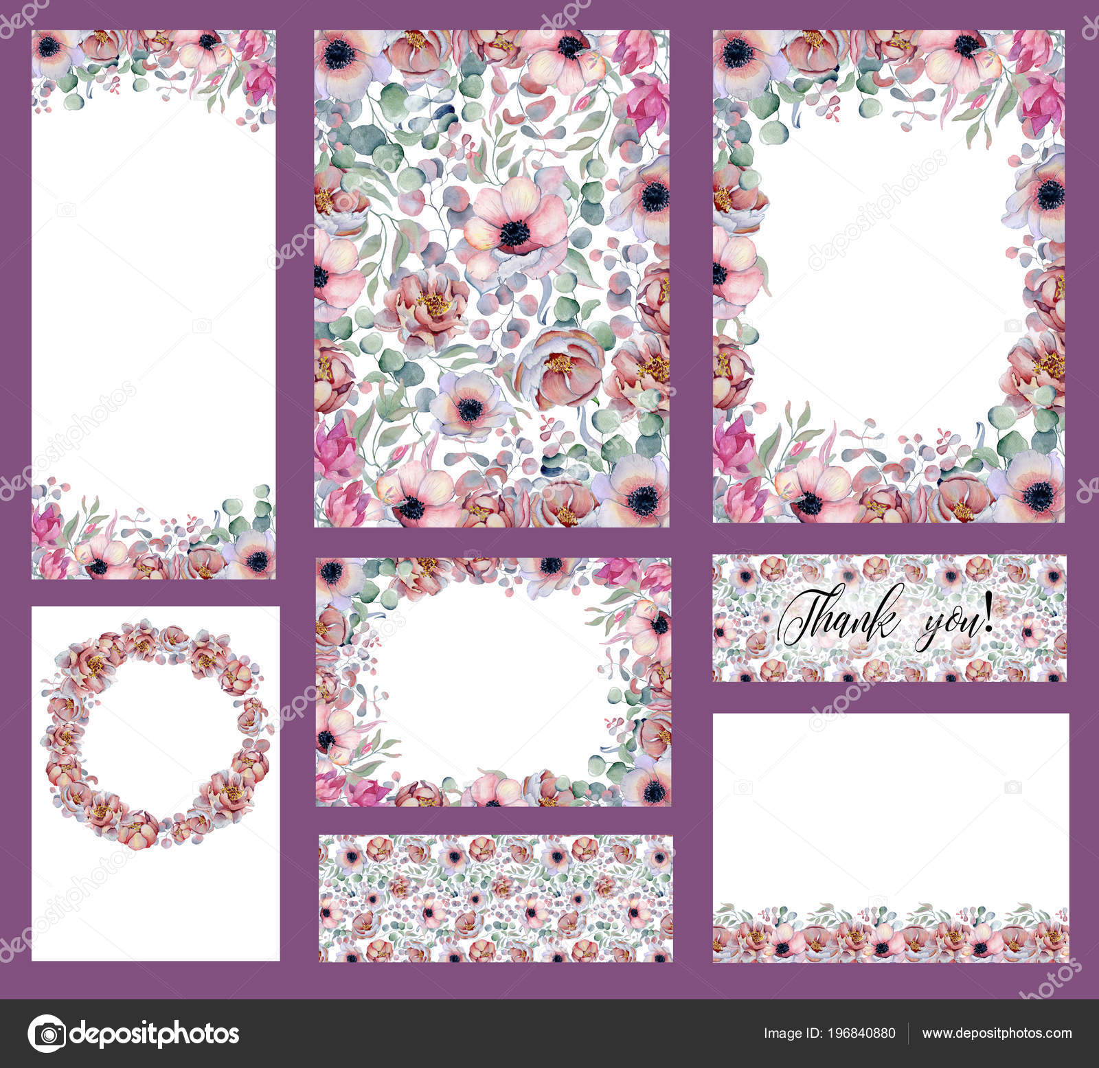 watercolor wedding invitation cards templates set stock photo