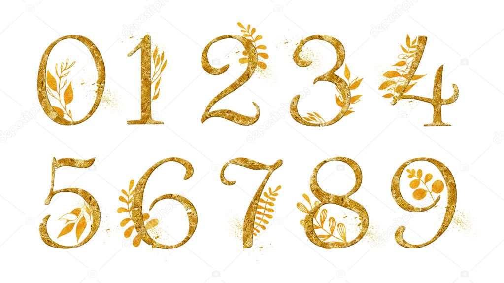 Golden Number Set  with gold floral decor. Collection for wedding invites decoration  other concept ideas.