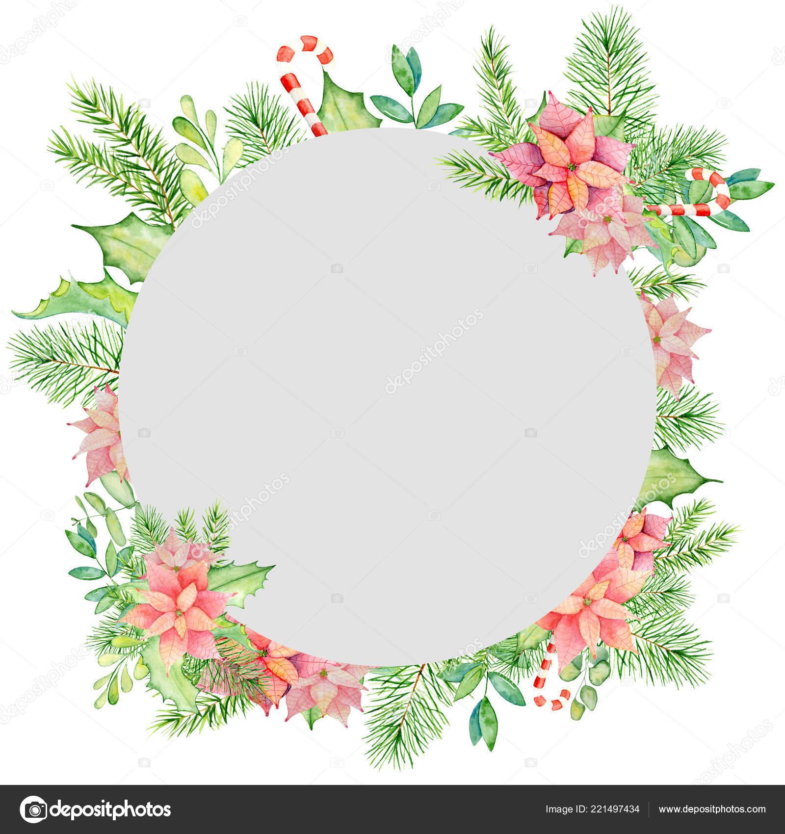 frohe weihnachten aquarell rahmen mit floralen winter. Black Bedroom Furniture Sets. Home Design Ideas