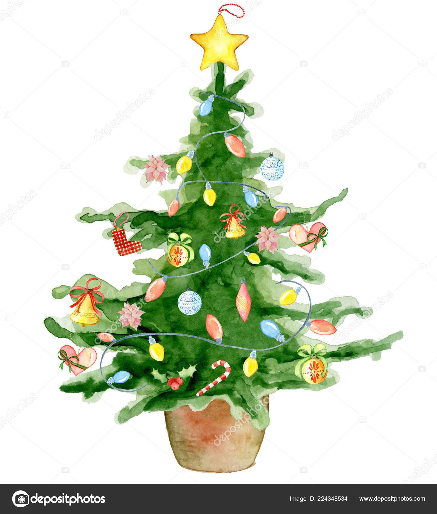 Frohe weihnachten aquarell baum happy new year karte - Aquarell weihnachten ...