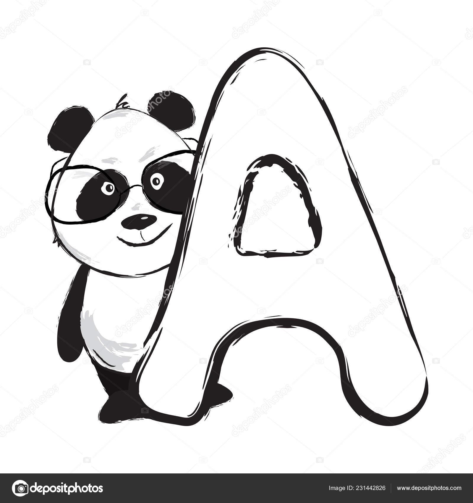 Urso Panda Bonito Animal Alfabeto Inglês Letra A Com