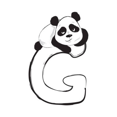 Panda bear cute animal english alphabet letter G with cartoon baby illustrations