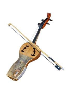 Kazakh folk musical instrument kobyz, prima with bow isolated on white background