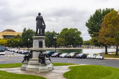 Washington DC, USA - October 12, 2017: View of The Garfield Circle Monument near the Capitol in Washington DC