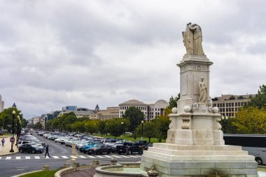 Washington DC, USA - October 12, 2017: View of The Peace Monument, also known as the Naval Monument or Civil War Sailors Monument near the Capitol in Washington DC