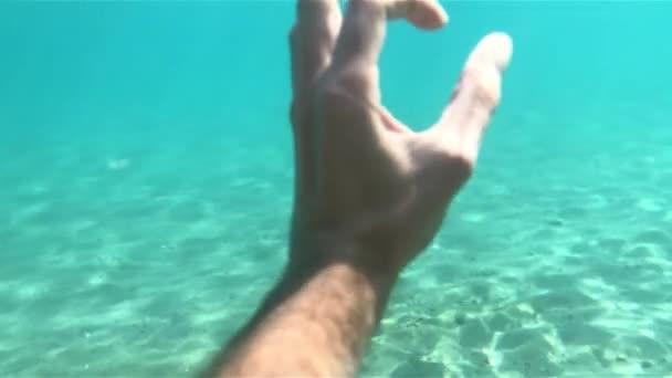 Unterwasserperspektive Aufnahme der Hand, die das Okay zum Tauchen gibt.