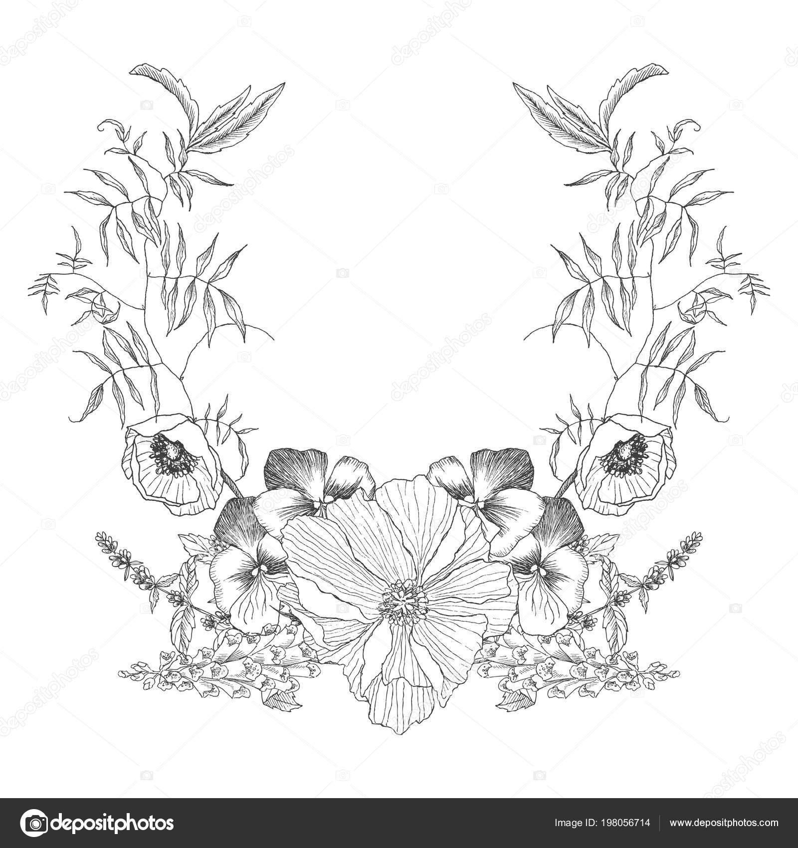 Vintage frame border monogram floral ornament. Engraved retro flower ...