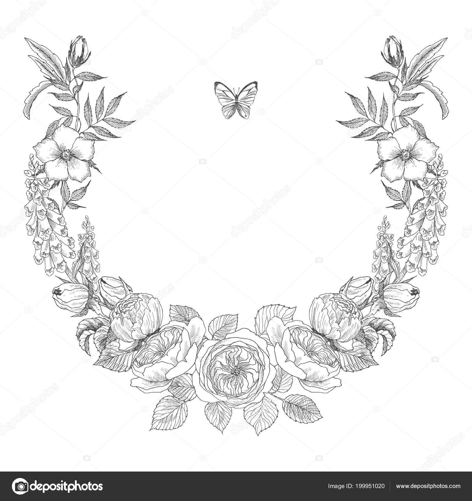Vintage Victorian frame border monogram floral ornament. Engraved ...