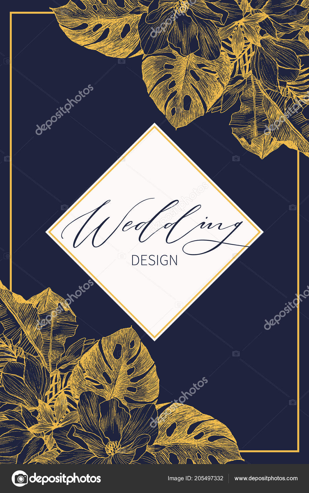 Botanical Wedding Invitation Card Template Design Gold Palm And